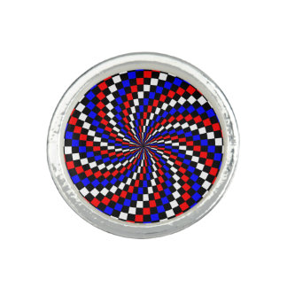Red White Blue Checker Spiral by Kenneth Yoncich Photo Rings