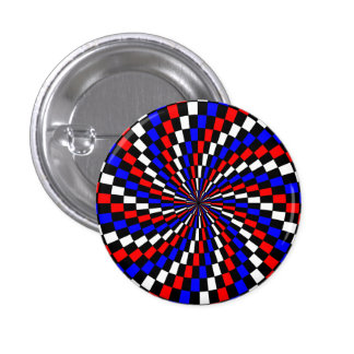 Red White Blue Checker Spiral by Kenneth Yoncich Pinback Button