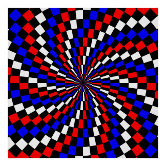 Red White Blue Checker Spiral by Kenneth Yoncich Poster