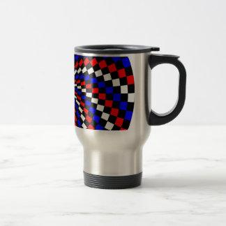 Red White Blue Checker Spiral by Kenneth Yoncich Travel Mug