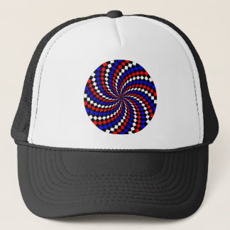 Red White Blue Checker Spiral by Kenneth Yoncich Trucker Hat
