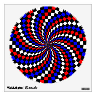 Red White Blue Checker Spiral by Kenneth Yoncich Wall Decal