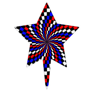 Red White Blue Checker Spiral Cake Toppers