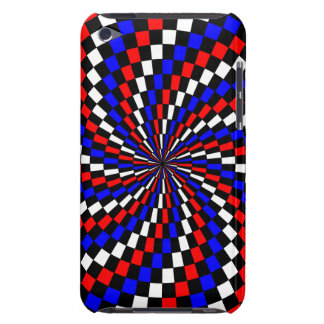 Red White Blue Checker Spiral iPod Touch Covers