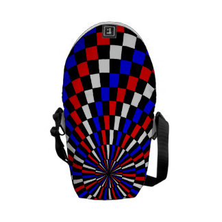 Red White Blue Checker Spiral Courier Bag