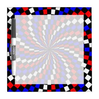 Red White Blue Checker Spiral Dry Erase Board