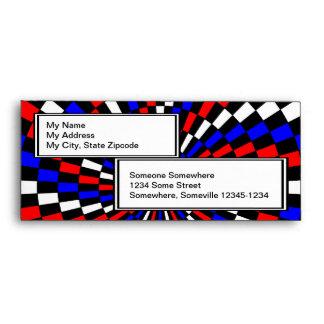 Red White Blue Checker Spiral Envelopes