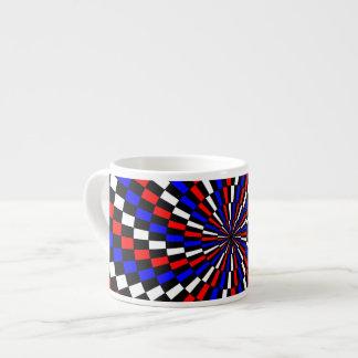 Red White Blue Checker Spiral Espresso Cup