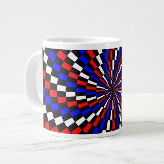 Red White Blue Checker Spiral Giant Coffee Mug