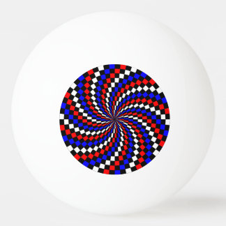 Red White Blue Checker Spiral Ping-Pong Ball