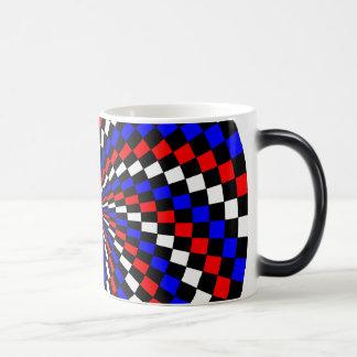Red White Blue Checker Spiral Morphing Mug