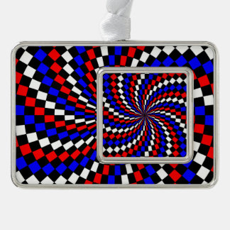 Red White Blue Checker Spiral Ornament