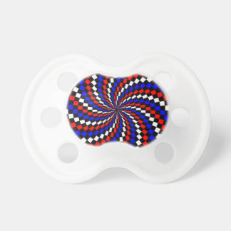 Red White Blue Checker Spiral Pacifier BooginHead Pacifier