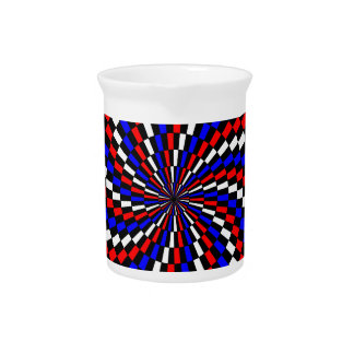 Red White Blue Checker Spiral Pitchers