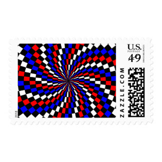 Red White Blue Checker Spiral Postage Stamps