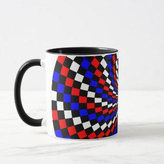 Red White Blue Checker Spiral Ringer Mug