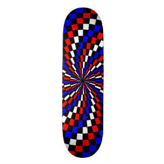 Red White Blue Checker Spiral Skateboard
