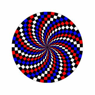 Red White Blue Checker Spiral Statuette