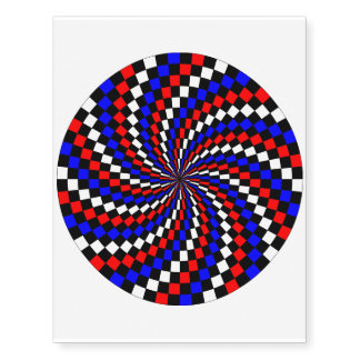 Red White Blue Checker Spiral Temporary Tattoos