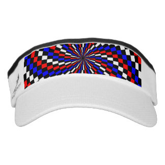 Red White Blue Checker Spiral Visor