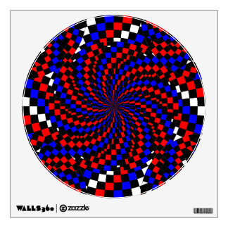 Red White Blue Checker Spiral Wall Decal