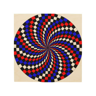 Red white Blue Checker Spiral Wood Wall Art
