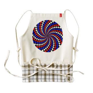 Red White Blue Checker Spiral Zazzle HEART Apron