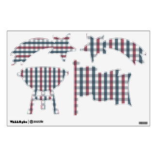 Red, White & Blue Checkerboard Wall Decals