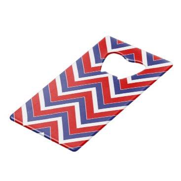 USA Themed Red,White,Blue Chevron 1-CARD BOTTLE OPENER