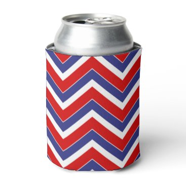 USA Themed Red,White,Blue Chevron 1-DRINK CAN COOLER