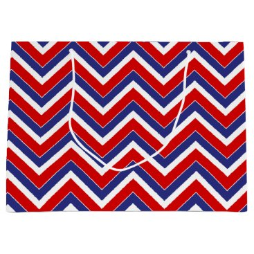 USA Themed Red,White,Blue Chevron 1-GIFT BAG L