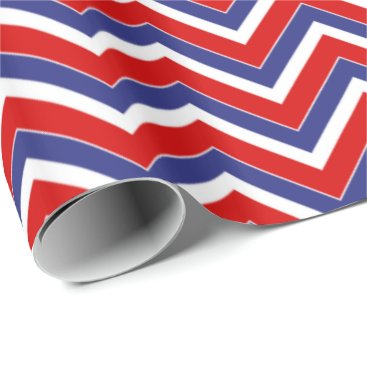 USA Themed Red,White,Blue Chevron 1-GIFT WRAPPING PAPER