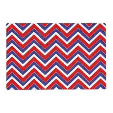 USA Themed Red,White,Blue Chevron 1-LAMINATED PLACE MAT