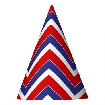 USA Themed Red,White,Blue Chevron 1-PAPER PARTY HATS