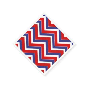 USA Themed Red,White,Blue Chevron 1-PAPER PARTY NAPKINSs Paper Napkin