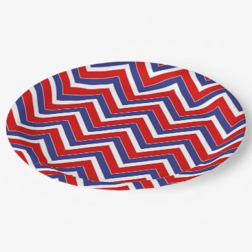 USA Themed Red,White,Blue Chevron 1-PAPER PARTY PLATES