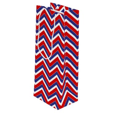 USA Themed Red,White,Blue Chevron 1-WINE GIFT BAG