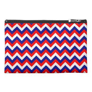 Red White Blue Chevron Travel Accessory Bags