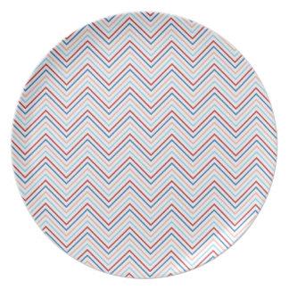 Red, White, Blue Chevron Dinner Plate