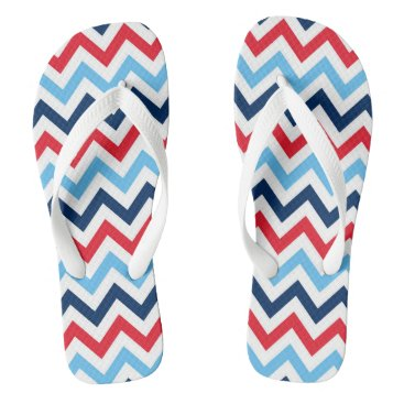 Beach Themed Red White Blue Chevron Flip Flops Jandals Thongs