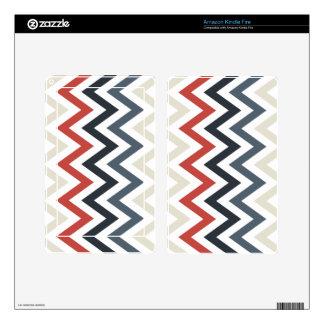 Red White Blue Chevron Geometric Designs Color Kindle Fire Skin