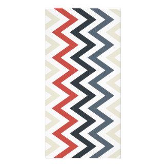 Red White Blue Chevron Geometric Designs Color Photo Greeting Card