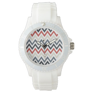 Red White Blue Chevron Geometric Designs Color Wristwatches