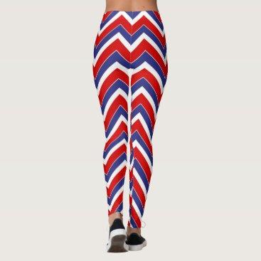 USA Themed Red-White-Blue-Chevron-LEGGINGS Leggings