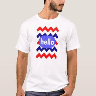 red white blue chevron pattern hello t-shirt
