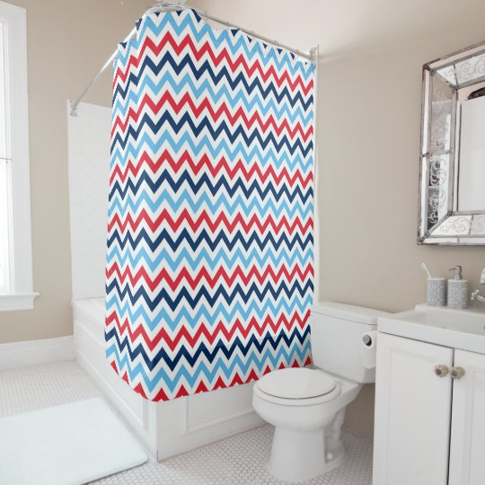 Red White Blue Chevron Zigzag Custom Pattern Shower Curtain