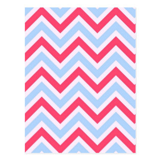 Red white blue chevrons stripes pattern postcard
