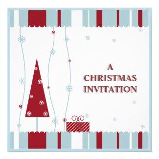 red white blue christmas invitation