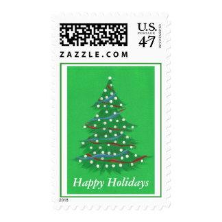 Red White Blue Christmas Tree happy holiday stamps
