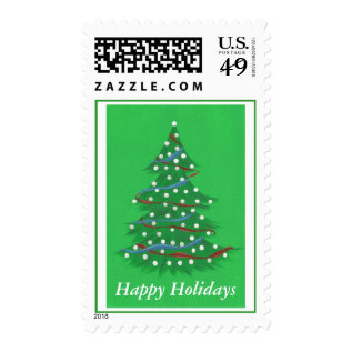 Red White Blue Christmas Tree Happy Holiday Stamps at Zazzle